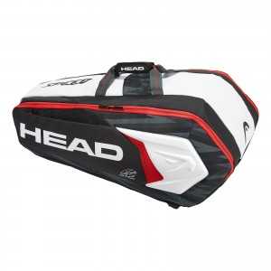 Torba tenisowa HEAD Djokovic 9R Supercombi (black & white & red)