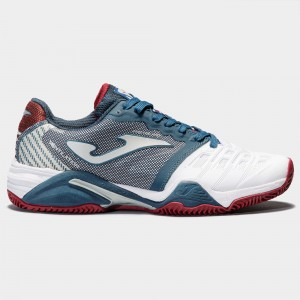 Buty do tenisa T.PRO ROLAND 902 WHITE-NAVY CLAY