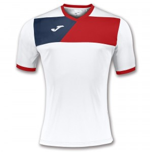 Koszulka do tenisa JOMA T-SHIRT CREW II WHITE-RED S/S