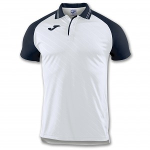 Koszulka polo do tenisa JOMA POLO TORNEO II WHITE-NAVY S/S