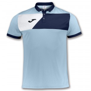 Koszulka polo do tenisa JOMA POLO SHIRT CREW II SKYBLUE S/S