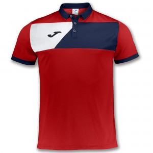 Koszulka polo do tenisa JOMA POLO SHIRT CREW II RED S/S