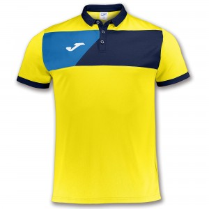 Koszulka polo do tenisa JOMA POLO SHIRT CREW II YELLOW S/S