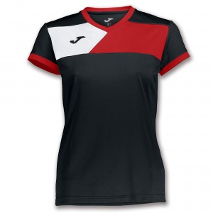 Koszulka do tenisa JOMA TSHIRT CREW II S/S BLACK-RED WOMAN