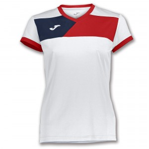 Koszulka do tenisa JOMA T-SHIRT CREW II S/S WHITE-RED WOMAN