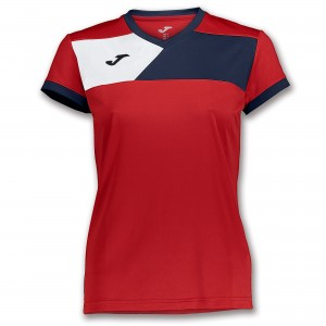 Koszulka do tenisa JOMA T-SHIRT CREW II S/S RED-NAVY WOMAN