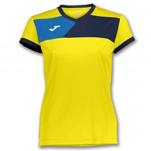 Koszulka do tenisa JOMA T-SHIRT CREW II S/S YELLOW-NAVY WOMAN
