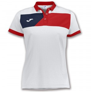 Koszulka polo do tenisa JOMA POLO CREW II S/S WHITE-RED WOMAN