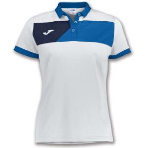 Koszulka polo do tenisa JOMA POLO CREW II S/S WHITE-ROYAL WOMAN