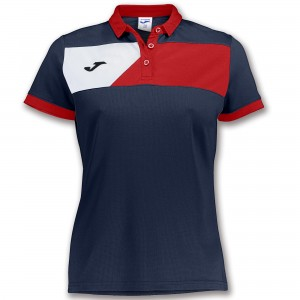 Koszulka polo do tenisa JOMA POLO CREW II S/S NAVY-RED WOMAN