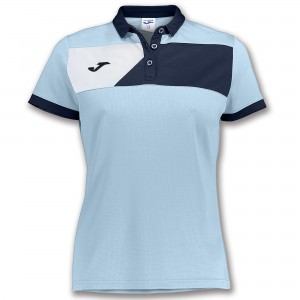 Koszulka polo do tenisa JOMA POLO CREW II S/S SKYBLUE-NAVY WOMAN