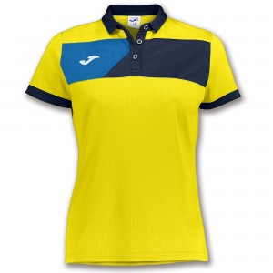 Koszulka polo do tenisa JOMA POLO CREW II S/S YELLOW-NAVY WOMAN