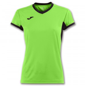 Koszulka do tenisa JOMA T-SHIRT CHAMPION IV LIME-BLACK S/S WOMAN