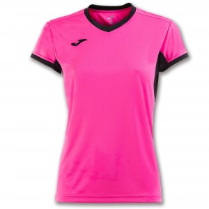 Koszulka do tenisa JOMA T-SHIRT CHAMPION IV PINK-BLACK S/S WOMAN