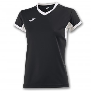 Koszulka do tenisa JOMA T-SHIRT CHAMPION IV BLACK-WHITE S/S WOMAN