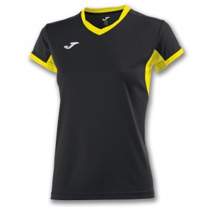 Koszulka do tenisa JOMA T-SHIRT CHAMPION IV BLACK-YELLOW S/S WOMAN