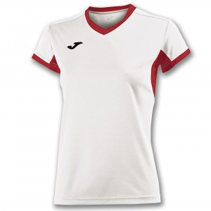 Koszulka do tenisa JOMA T-SHIRT CHAMPION IV WHITE-RED S/S WOMAN