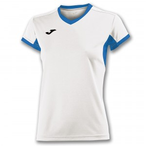 Koszulka do tenisa JOMA T-SHIRT CHAMPION IV WHITE-ROYAL S/S WOMAN
