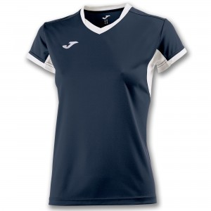 Koszulka do tenisa JOMA T-SHIRT CHAMPION IV NAVY-WHITE S/S WOMAN