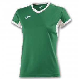 Koszulka do tenisa JOMA T-SHIRT CHAMPION IV GREEN-WHITE S/S WOMAN