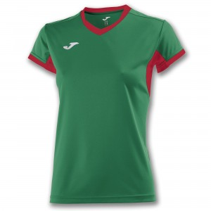 Koszulka do tenisa JOMA T-SHIRT CHAMPION IV GREEN-RED S/S WOMAN