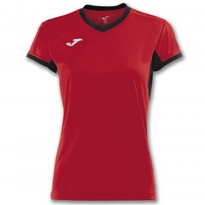 Koszulka do tenisa JOMA T-SHIRT CHAMPION IV RED-BLACK S/S WOMAN