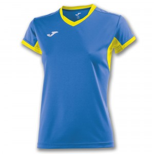 Koszulka do tenisa JOMA T-SHIRT CHAMPION IV ROYAL-YELLOW S/S WOMAN