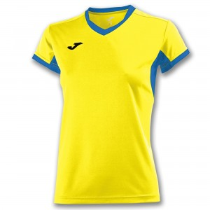 Koszulka do tenisa JOMA T-SHIRT CHAMPION IV YELLOW-ROYAL S/S WOMAN