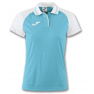 Koszulka polo do tenisa JOMA POLO TORNEO II S/S TURQUOISE-WHITE WOMAN