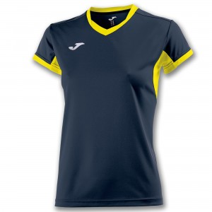 Koszulka do tenisa JOMA T-SHIRT CHAMPION IV NAVY-YELLOW S/S WOMAN