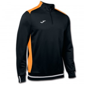 JOMA CAMPUS II SWEATSHIRT 1/2 ZIPPER BLACK-ORANGE