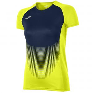 Koszulka do tenisa JOMA T-SHIRT ELITE VI YELLOW-NAVY S/S WOMAN